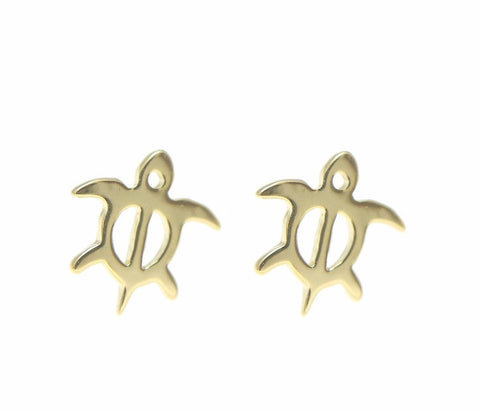 YELLOW GOLD SILVER 925 HAWAIIAN HONU TURTLE STUD POST EARRINGS EXTRA SMALL 7.7MM (TE-4)