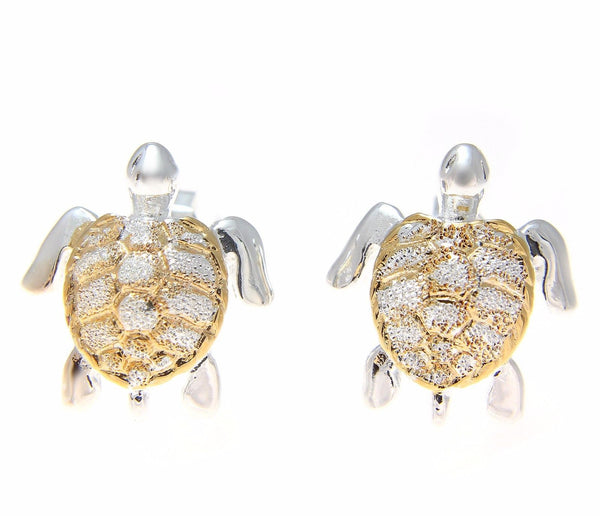 SILVER 925 HAWAIIAN 13MM HONU SEA TURTLE STUD POST EARRINGS 2 TONE YELLOW GOLD (TE-51)