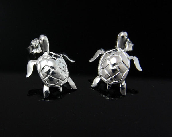 STERLING SILVER 925 HAWAIIAN HIGH POLISH SHINY SEA TURTLE STUD POST EARRINGS (TE-52)