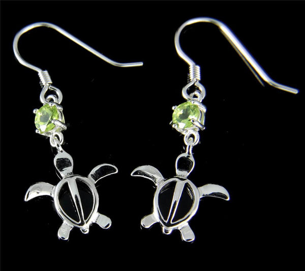 GENUINE PERIDOT SILVER 925 HAWAIIAN HONU TURTLE WIRE HOOK EARRINGS RHODIUM 13MM (TE-83)