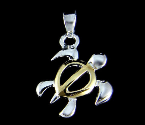 STERLING SILVER 925 YELLOW GOLD PLATED 2 TONE HAWAIIAN HONU TURTLE PENDANT (TP-2)