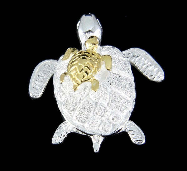 SILVER 925 HAWAIIAN HONU MOM YELLOW GOLD PLATED BABY TURTLE MOVABLE PENDANT (TP-114)