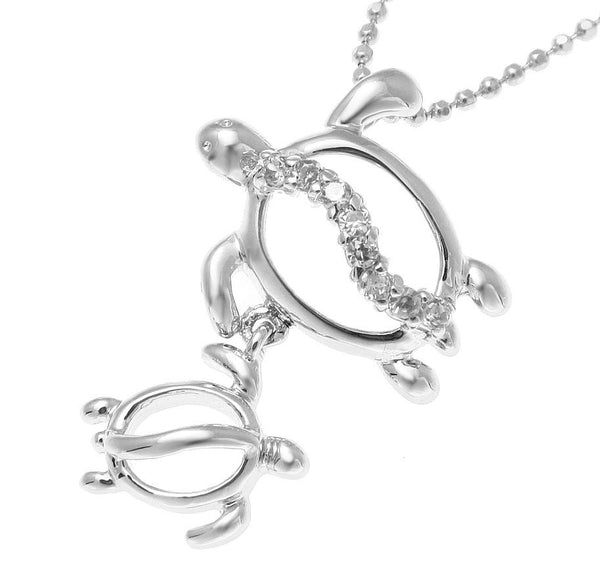 STERLING SILVER 925 RHODIUM MOTHER BABY HAWAIIAN HONU TURTLE PENDANT CZ (TP-118)