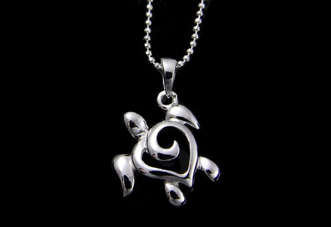 STERLING SILVER 925 SHINY HAWAIIAN HONU TURTLE PENDANT 14MM (TP-11)