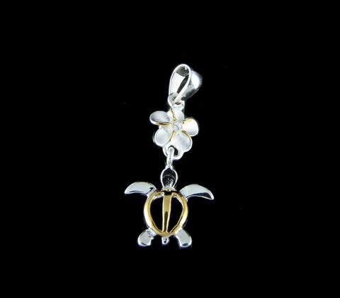 SILVER 925 6MM HAWAIIAN PLUMERIA FLOWER DANGLE HONU TURTLE PENDANT CZ 2T YELLOW (TP-12)