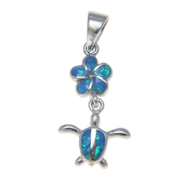 INLAY OPAL HAWAIIAN PLUMERIA DANGLE HONU TURTLE PENDANT STERLING SILVER 925 (TP-135)