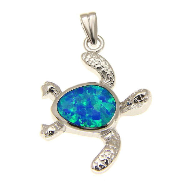 INLAY OPAL HAWAIIAN SWIMMING HONU TURTLE PENDANT STERLING SILVER 925 (TP-159)