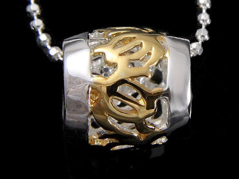 SILVER 925 HAWAIIAN YELLOW GOLD PLATED HONU TURTLE BARREL TUBE PENDANT 8.5MM (TP-15)