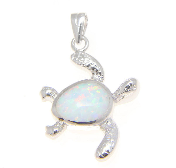 INLAY WHITE OPAL HAWAIIAN SWIMMING HONU TURTLE PENDANT STERLING SILVER 925 (TP-160)