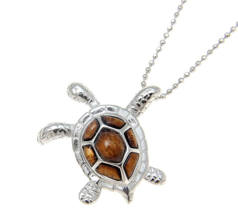 GENUINE HAWAIIAN KOA WOOD SEA TURTLE SLIDE PENDANT 925 STERLING SILVER 23MM (TP-170)