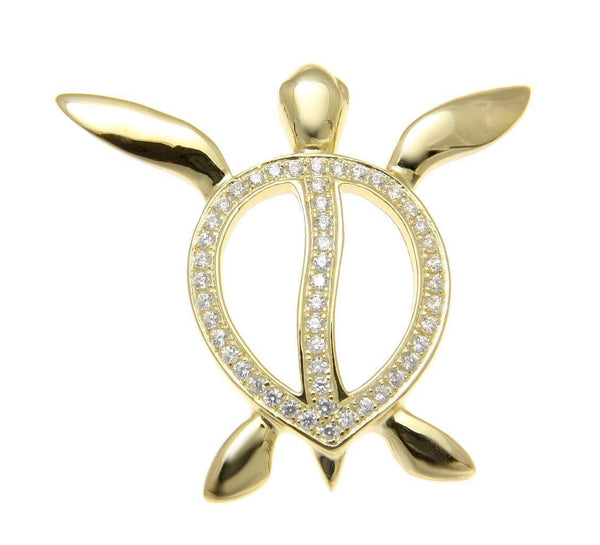 YELLOW GOLD ON SOLID 925 SILVER HAWAIIAN SWIMMING HONU TURTLE SLIDE PENDANT CZ (TP-183)
