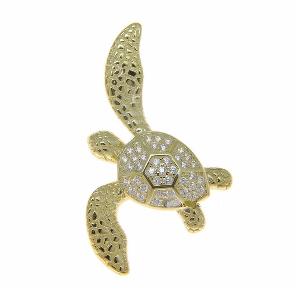 YELLOW GOLD SOLID 925 SILVER HAWAIIAN SWIMMING SEA TURTLE SLIDE PENDANT CZ (TP-188)