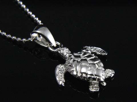 STERLING SILVER 925 3D HAWAIIAN BABY SEA TURTLE PENDANT (TP-18)