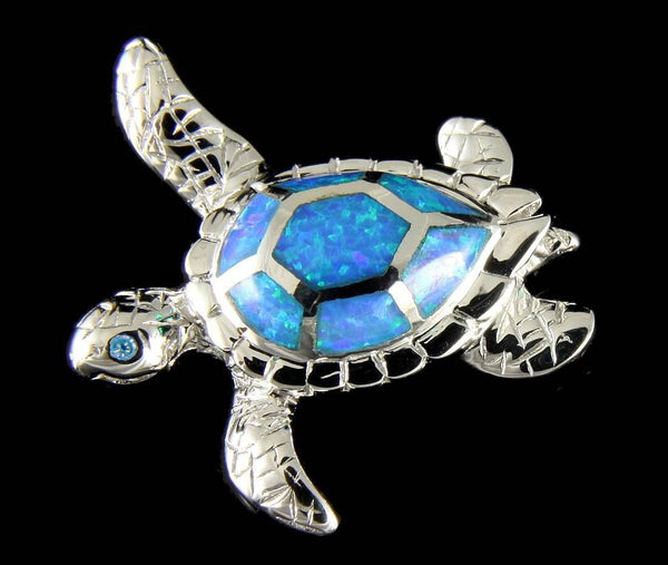 INLAY OPAL HAWAIIAN SEA TURTLE SLIDE PENDANT SOLID 925 STERLING SILVER 24.90MM (TP-190)
