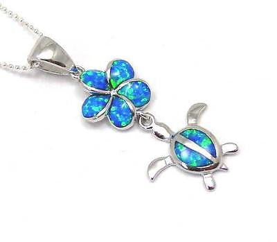 INLAY OPAL HAWAIIAN PLUMERIA DANGLE HONU TURTLE PENDANT STERLING SILVER 925 (TP-195)