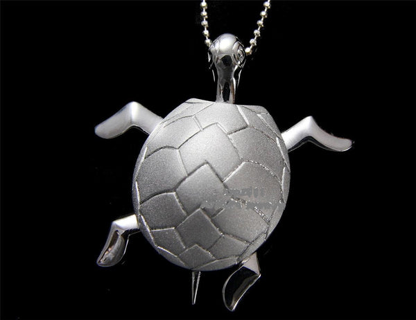 STERLING SILVER 925 HAWAIIAN 3D MOVABLE SEA TURTLE PENDANT LARGE 30MM (TP-203)