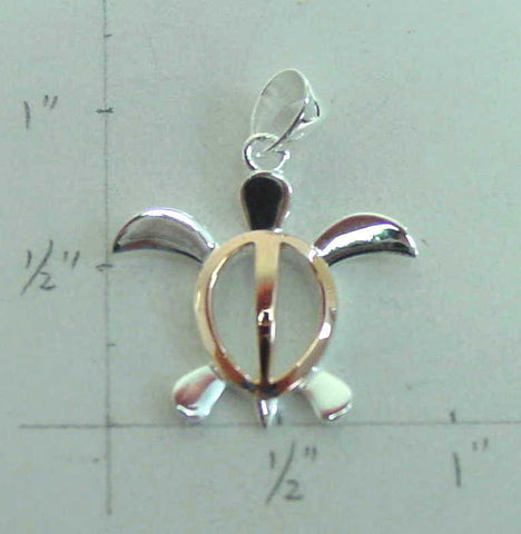 PINK GOLD ON SILVER MEDIUM HAWAIIAN HONU TURTLE PENDANT (TP-20)
