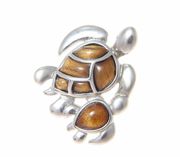 GENUINE INLAY HAWAIIAN KOA WOOD SEA TURTLE MOTHER BABY SLIDE PENDANT 925 SILVER (TP-211)
