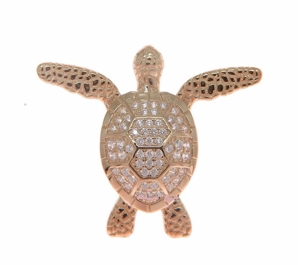 ROSE GOLD SOLID 925 SILVER HAWAIIAN SWIMMING SEA TURTLE SLIDE PENDANT CZ (TP-212)