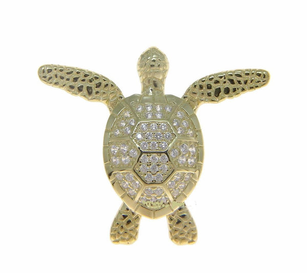 YELLOW GOLD SOLID 925 SILVER HAWAIIAN SWIMMING SEA TURTLE SLIDE PENDANT CZ (TP-216)