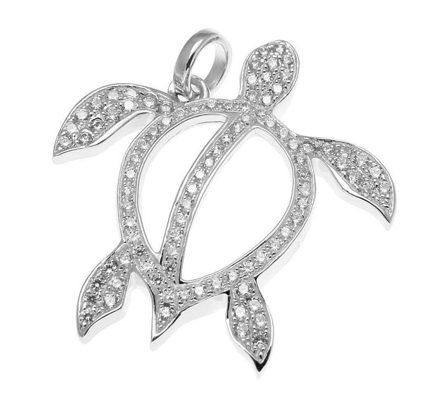 SOLID 925 STERLING SILVER HAWAIIAN HONU TURTLE PENDANT CZ RHODIUM (TP-218)
