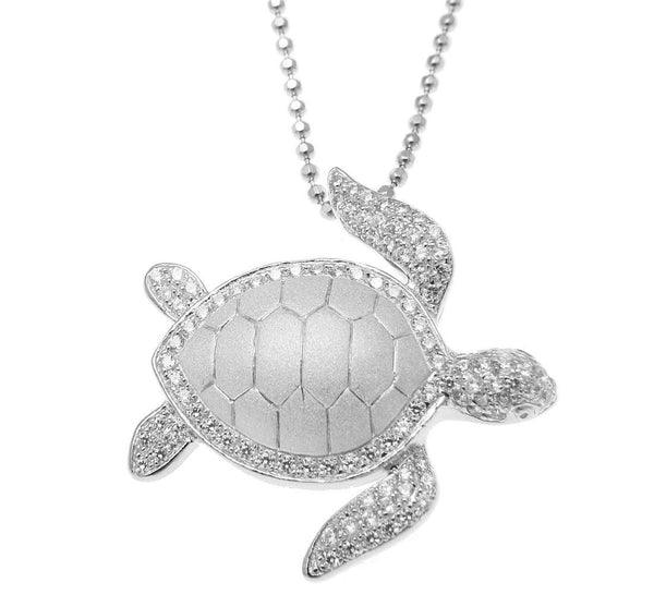 SOLID 925 STERLING SILVER HAWAIIAN SEA TURTLE HONU SLIDE PENDANT CZ RHODIUM (TP-225)