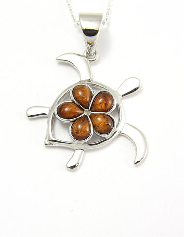 GENUINE INLAY HAWAIIAN KOA WOOD PLUMERIA HONU TURTLE PENDANT SILVER 925 MEDIUM (TP-230)
