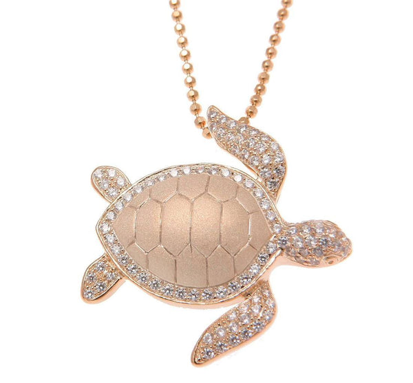 ROSE GOLD ON SOLID 925 STERLING SILVER HAWAIIAN SEA TURTLE HONU SLIDE PENDANT CZ (TP-233)