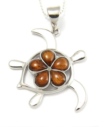 GENUINE INLAY HAWAIIAN KOA WOOD PLUMERIA HONU TURTLE PENDANT SILVER 925 LARGE (TP-239)