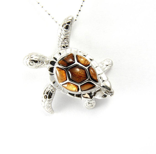 GENUINE INLAY HAWAIIAN KOA WOOD SEA TURTLE SLIDER PENDANT SILVER 925 MEDIUM 32MM (TP-243)