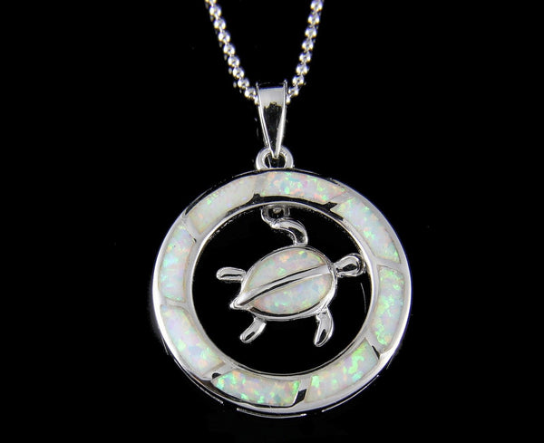 INLAY OPAL HAWAIIAN HONU TURTLE DANGLE CIRCLE PENDANT STERLING SILVER 925 (TP-247)