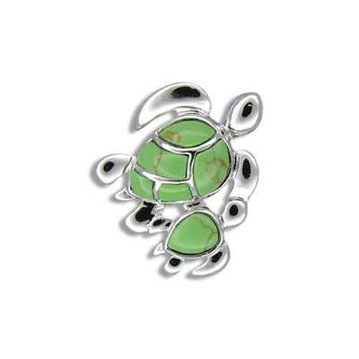 20MM SILVER 925 GREEN TURQUOISE HAWAIIAN MOTHER BABY TURTLE PENDANT RHODIUM (TP-252)