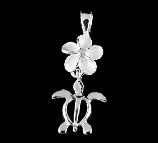 STERLING SILVER 925 8MM HAWAIAIN PLUMERIA FLOWER DANGLE HONU TURTLE PENDANT CZ (TP-25)