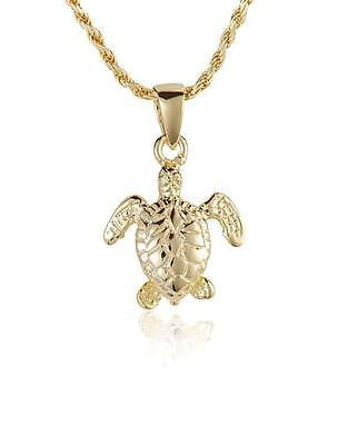 YELLOW GOLD PLATED STERLING SILVER 925 HAWAIIAN 3D BABY SEA TURTLE PENDANT (TP-31)