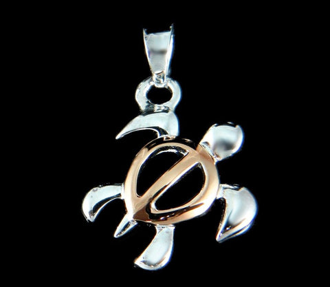 STERLING SILVER 925 HAWAIIAN HONU SEA TURTLE PENDANT SMALL 2 TONE PINK ROSE GOLD (TP-4)