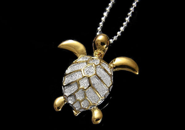 YELLOW GOLD PLATED STERLING SILVER 925 HAWAIIAN SEA TURTLE SLIDE PENDANT 19.5MM (TP-90)