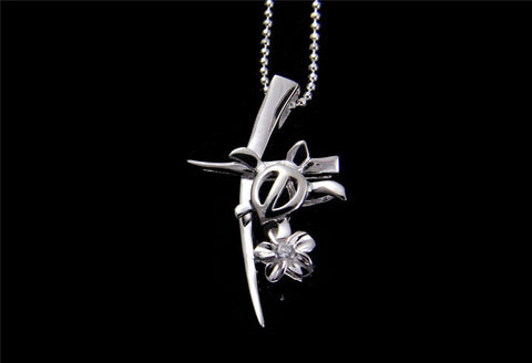 STERLING SILVER 925 SHINY HAWAIIAN PLUMERIA FLOWER HONU TURTLE CROSS PENDANT CZ (TP-92)