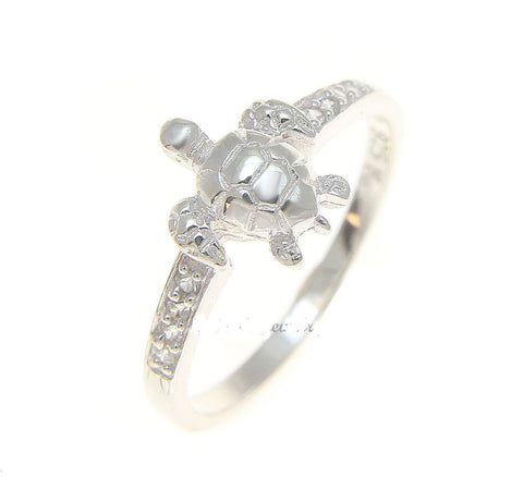 STERLING SILVER 925 HAWAIIAN SEA TURTLE RING WITH CLEAR CZ (TR-13)