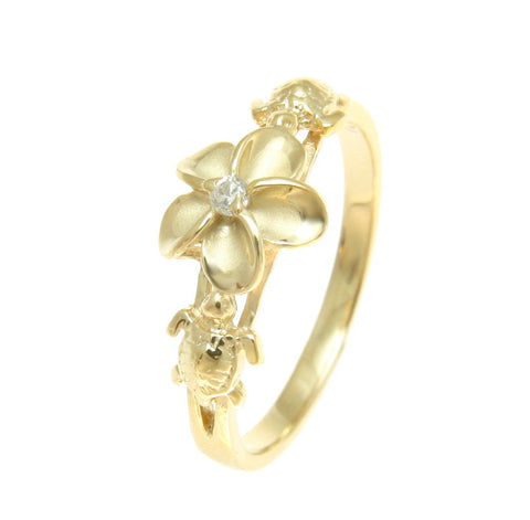 YELLOW GOLD PLATED SILVER 925 HAWAIIAN PLUMERIA FLOWER SEA TURTLE RING CZ (TR-14)