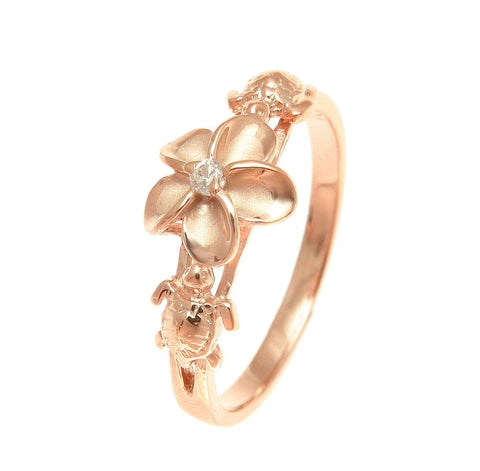 PINK ROSE GOLD PLATED SILVER 925 HAWAIIAN PLUMERIA FLOWER HONU TURTLE RING CZ (TR-16)