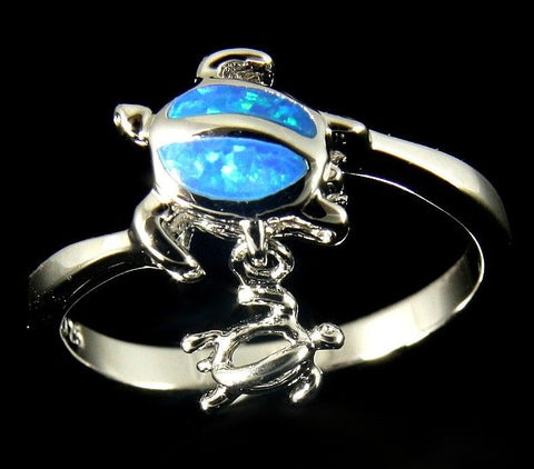 INLAY OPAL SILVER 925 HAWAIIAN HONU SEA TURTLE DANGLE BABY HONU RING (TR-17)