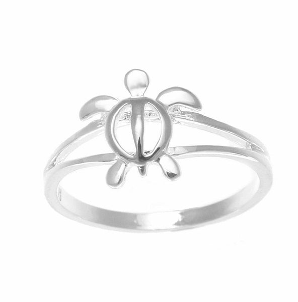 10MM STERLING SILVER 925 SHINY HAWAIIAN HONU SEA TURTLE RING SIZE 3-10 (TR-1)