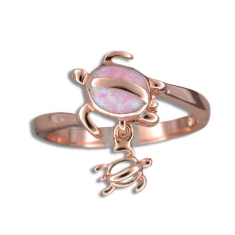 PINK ROSE GOLD INLAY PINK OPAL HAWAIIAN HONU TURTLE DANGLE BABY RING (TR-22)