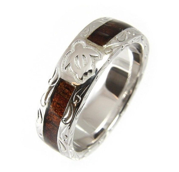 GENUINE HAWAIIAN KOA WOOD ETERNITY WEDDING BAND RING HONU TURTLE 925 SILVER 6MM (TR-24)