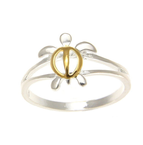 10MM SILVER 925 YELLOW GOLD PLATED SHINY HAWAIIAN HONU TURTLE RING SIZE 3-10 (TR-2)