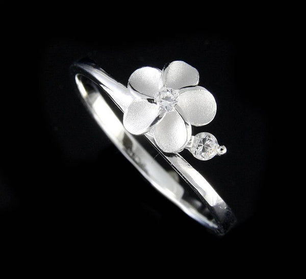 STERLING SILVER 925 HAWAIIAN 7.5MM SINGLE PLUMERIA FLOWER RING CZ SIZE 3-10 (PR-3)
