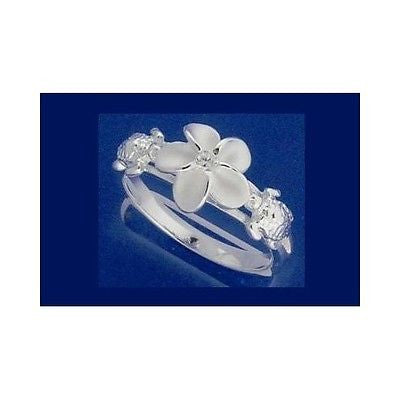 STERLING SILVER 925 HAWAIIAN PLUMERIA FLOWER TURTLE RING (TR-5)