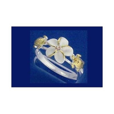 SILVER 925 HAWAIIAN PLUMERIA FLOWER TURTLE RING 2 TONE YELLOW SIZE 3 - 13 (TR-6)