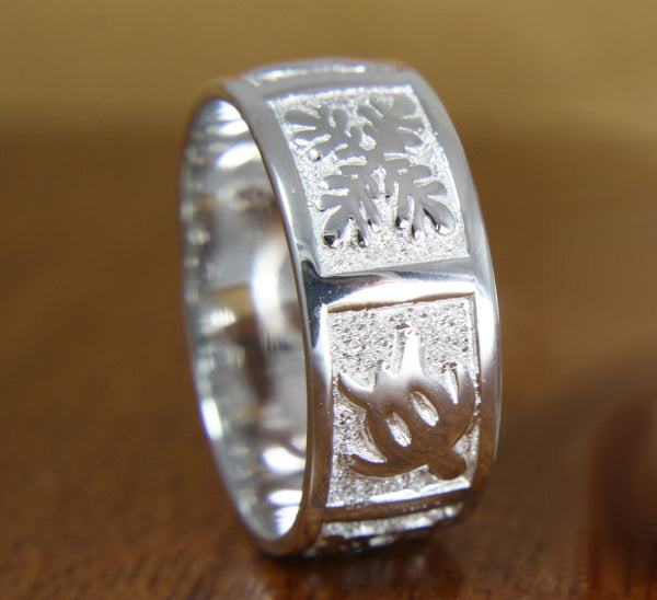 8MM STERLING SILVER 925 HAWAIIAN HONU TURTLE & QUILT BAND RING (TR-9)