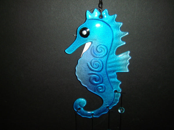 Brand New  Beautiful Fused Glass Seahorse Wind Chime (WC-7)